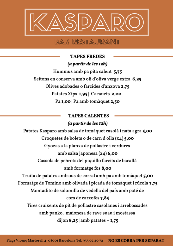 Kasparo Catalan Menu